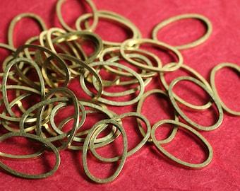 Solid raw brass oval link 14x9mm, 36 pcs (item ID RBOV14x9)