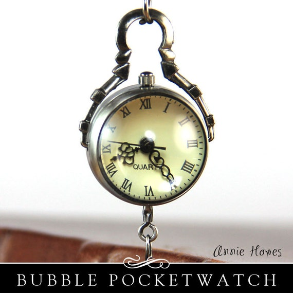 DIY Glass Bubble Pocket Watch Charm in Vintage Silver. Chain Included. Annie Howes.