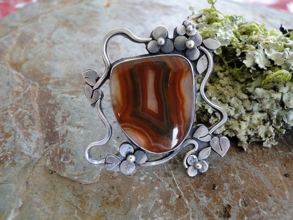 Jugendstil Ring..... Art Nouveau Style Large statement Ring with Agua Nueva Agate