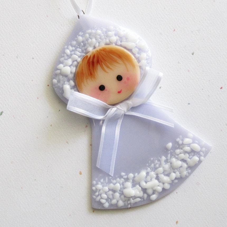 Baby Girl Christening Favors Glass Ornament: 014 First Christmas Glass Ornament Baby Little Girl