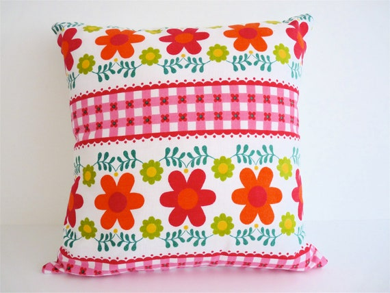 Scandinavian Flower Cushion Pillow Vintage 70s Fabric by Jane Foster