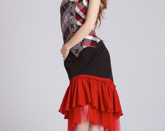 Ruffle Skirt Two Tiered Poppy Red Lolita Gypsy Burlesque Steampunk