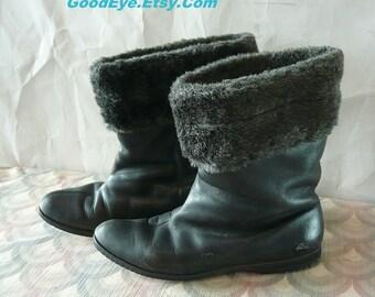 Vintage 60s Pixie Ankle Boots Leather size 7 .5 M  Eur 38  FLINGS   Winter Shoes Faux FUR LINED Snow