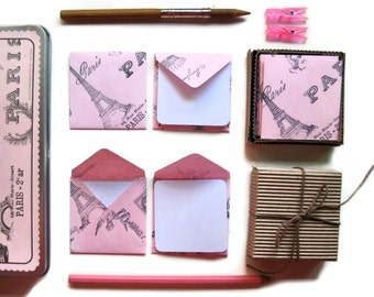 Pink Paris Cute Small Stationery Set, Square Envelopes, White Blank Note Cards, Thank You, Greetings, Gifts Tags Under 15, Paper Goods