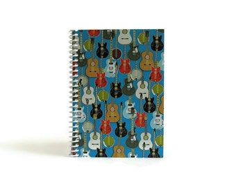 Rockin Guitars Blank Notebook, Music Lover Gift, Musical Instruments, Pocket Diary Writing Journal, Gifts Under 20, Sketchbook, 4x6, A6