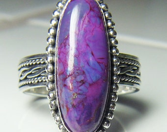Handmade Sterling Silver Purple Mohave Turquoise Ring size 6 to 11