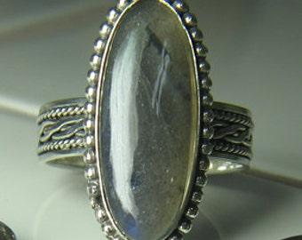 Handmade Sterling Silver Labradorite Ring size 6 to 11