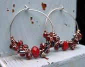 Red Bead Wire Wrapped Hoop Earrings