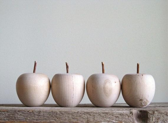 Large Unfinished Wooden Apples