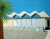 Original Oil Mid Century Modern Architecture Don Wexler Steel House 3 Palm Springs, CA Modernism