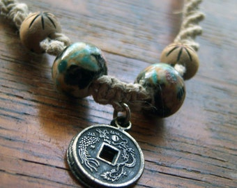 Natural Hemp with Ceramic and Wooden Beads with Asian Coin Pendant