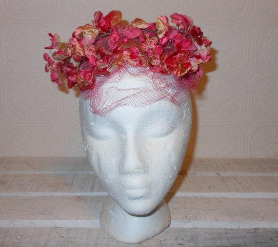 Vintage 1950s  flower  fascinator headpiece