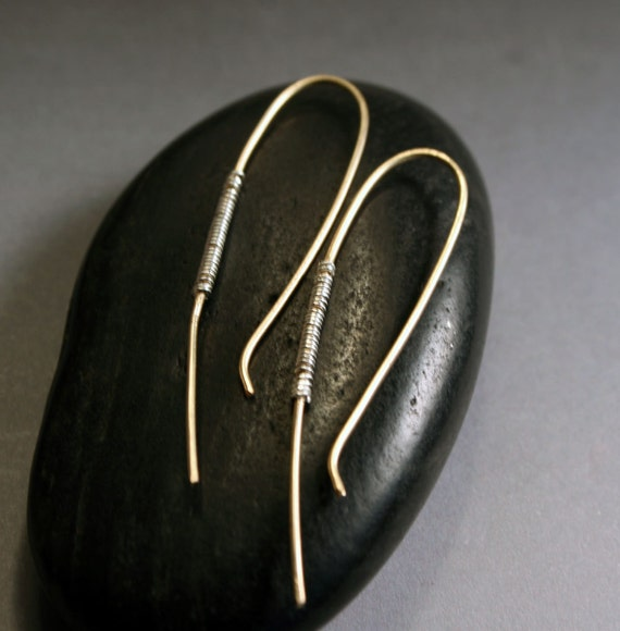 Simple Jewelry - Arc Earrings - Gold with Silver wire-wrap