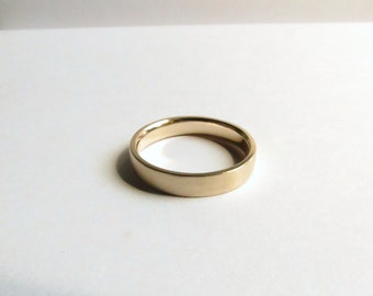 Custom Men's or Women's Solid Gold 14K Yellow Gold Contemporary Satin Finished Wedding Band. Men's Gold Wedding Ring. Custom Wedding Band.