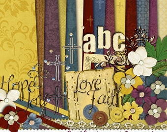Digital Scrapbook Kit- Faith, Hope, Love, Joy