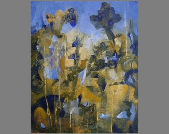 Painting, original automatist fine art, gold, ochre, blue, 16 x 12 inches, 'Rich and Strange'