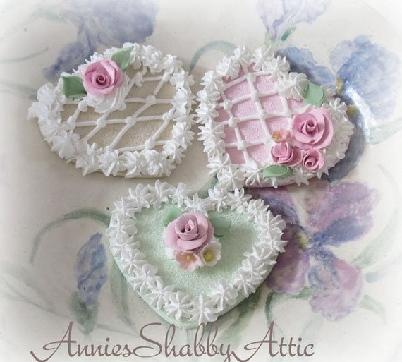Fake Cookies In Pastels With Handmade Clay Roses  ECS