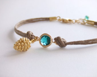 Pinecone Charm Jewelry Bracelet - Emerald Bracelet - May Birthstone - Rustic Bracelet - 16K Gold Plated  - Gift for Her - Woodland