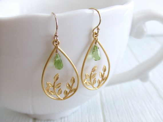 Leaf Teardrop Jewelry Earrings - August Birthstone - 16K Gold-Plated / Gold-Filled Earrings