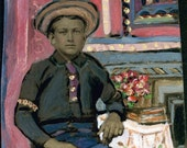vintage photo Teenage Boy Sits at Table Flowers Book Folk Art unusual Painted Tintype Photo Original ARt