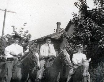 vintage photo Fancy Women Ride horses w Man wearing gaucho pants