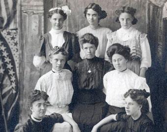 vintage photo 8 Edwardian Women w AMerican Flag RPPC