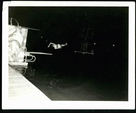 vintage photo Diving Board Side Twist Man Dives unusual
