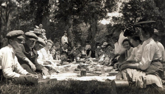 vintage photo Large Group Picnic in Woods 1907 rppc