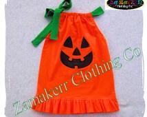 Custom Boutique Clothing Cute Girl Halloween Pumpkin Face Jackolantern Pillowcase Dress Costume 3 6 9 12 18 24 month size 2T 3T 4T 5T 6 7 8