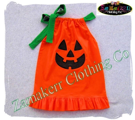 Custom Boutique Clothing Cute Girl Halloween Pumpkin Face Jackolantern Pillowcase Dress Costume 3 6 9 12 18 24 month size 2T 3T 4T 5T 6 7 8