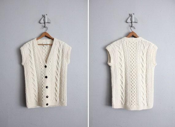 1970s vintage wool fishermen's sweater vest