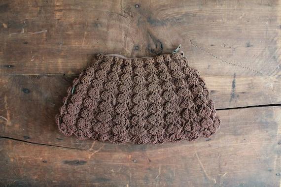1930s corde purse / brown corde clutch