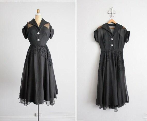 1940s dress / vintage 40s dress / black sheer dress