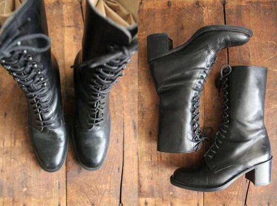 vintage black leather combat boots / size 6.5
