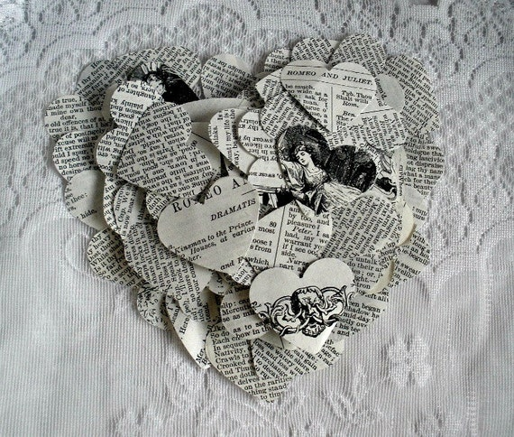 Romantic Confetti Hearts Shakespeare Romeo Juliet Sonnets