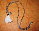Halloween Ghost Necklace Ghost Jewelry Charm Pendant Spooky Cute Halloween Costume Accessory FREE SHIPPING USA/Canada