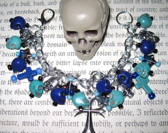 Day of The Dead Charm Bracelet Sugar Skull Jewelry Dia De Los Muertos Mexican Themed  Beads Crosses OOAK Eclectic Statement Piece