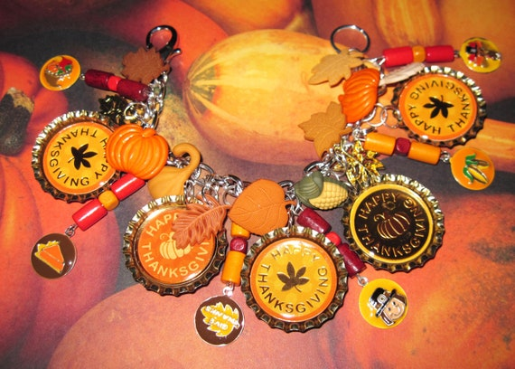 Thanksgiving Charm Bracelet Vintage Style Jewelry Accessory Autumn Fall Harvest Colors Leaves Altered Art OOAK