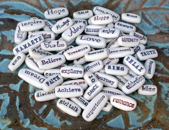 200 Message Stones, Wholesale Pocket Words, Motivational Gifts, Inspirational Clay Words, Wedding Favors
