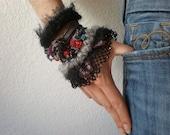 Helleborus Purpurascens  ... Freeform Crochet Cuff - Flowers -  Black Gray Burgundy Red Purple