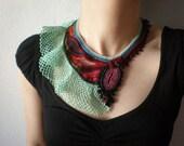 Turbinaria Reniformis   ... Freeform Beaded Crochet Necklace - Sea Green Red Burgundy Brown Blue - Beadwork Statement Bib