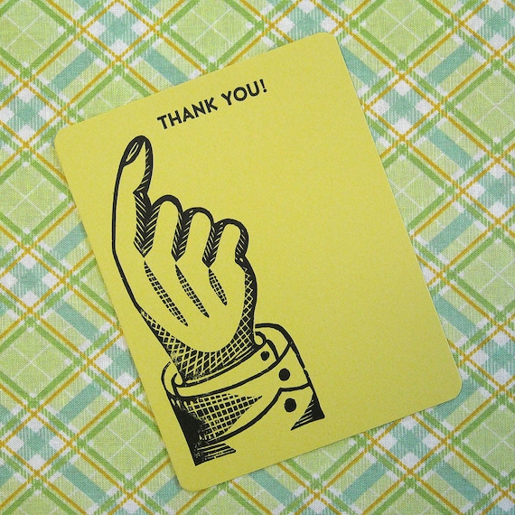 Letterpress Thank You Card and Envelope - Single Card - Pointing to Thank You