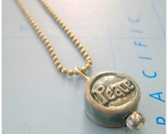 Yoga Necklace with Sky Blue Peace Pendant on Silver Ball Chain