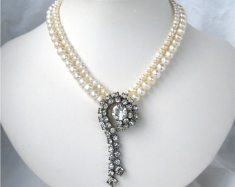 Rhinestone Pendant Pearl Necklace, 2 Strand Wedding Necklace, Clear Rhinestone Vintage Pendant White Pearl Short Necklace, Vintage Bride