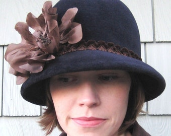 Navy Blue Felt Cloche Hat, Chocolate Brown Flower, Womens Fashion, Handmade Millinery, Julianna