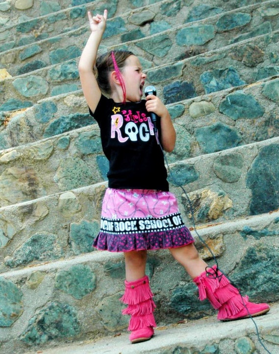Girls Rock Appliqued T-shirt