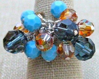 Swarovski Crystal Basket Cluster Ring in Montana Blue, Turquoise & Rust - R195