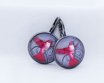 Hot Pink Hummingbird Earrings, Fine Art Print, Picture Jewelry