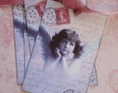 French Angel Tags - Vintage Angel Tags -  Postcard Tags - Set of 4