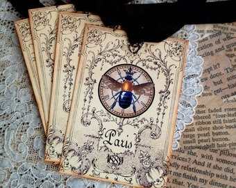 Bee Tags - French Bee Clock Tags - Vintage Paris Bee Tags - Queen Bee Tags -Set of 4